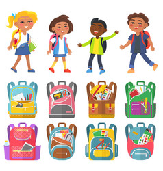 classmates and backpack sticker school vector image