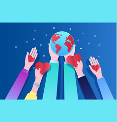 concept ecology human hands holding earth vector image