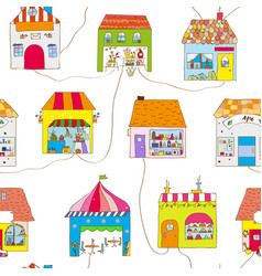cute houses in town seamless pattern vector image