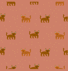 cute wild cheetah cat seamless pattern abstract vector image