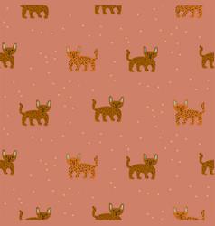 cute wild cheetah cat seamless pattern abstract vector image