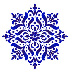 Decorative flower blue and white vector