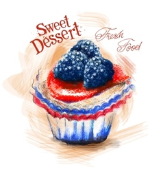 Dessert logo design template cake or fresh vector