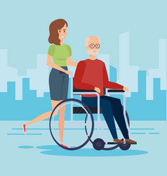 Disabled old man design vector