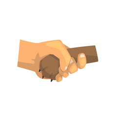 Dog paw and human hand shaking friendship vector