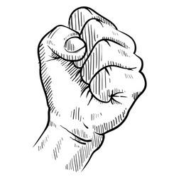Doodle hand fist protest concert rebel vector