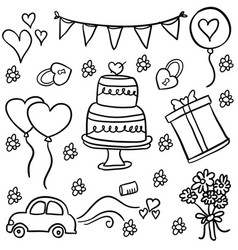 Doodle of wedding element style vector
