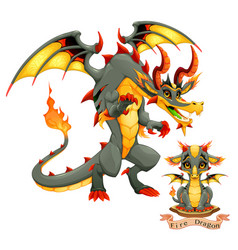 Dragon fire element puppy and adult vector
