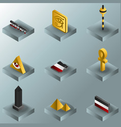 egypt color gradient isometric icons vector image