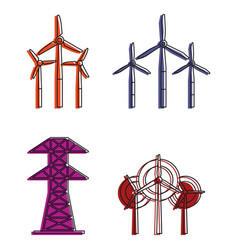 electric tower icon set color outline style vector image