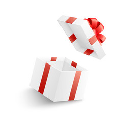 empty open white gift box with red ribbon bow and vector image