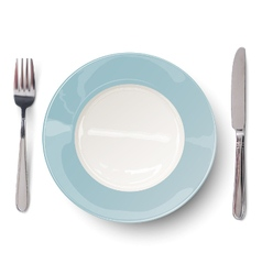 Empty plate in blue design with knife and fork vector image