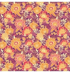 Fall flowers and leaves seamless pattern vector