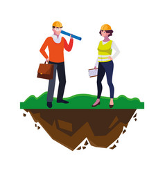 Female builder and architect on lawn vector