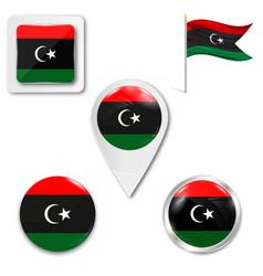 Flag button series - libya vector