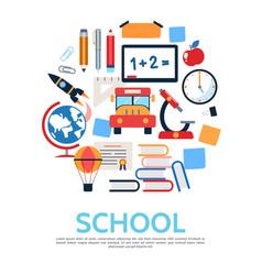 flat school round concept vector image