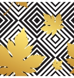 Geometric seamless leaf repeat pattern in black vector image