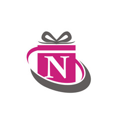 Gift box ribbon letter n vector