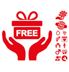 give present icon with dating bonus vector image