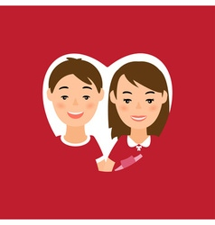 greeting card with man and woman in heart shape vector image
