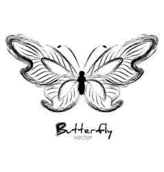 Grunge butterfly painted with ink vector