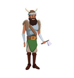 Halloween costume viking man beard helmet horns vector
