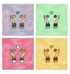 Hands juggling with balls in hatching style vector
