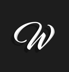 handwritten logo letter w vector image