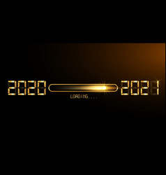 happy new year gold 2020 with loading to up 2021 vector image