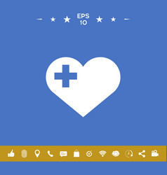 Heart with medical cross vector