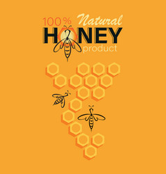 Honey background linear bee logo honeycomb and vector