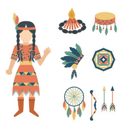 Indians icon temple ornament and element retro vector