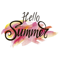 inscription hello summer on watercolor background vector image
