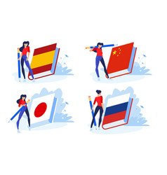 Language school and courses vector