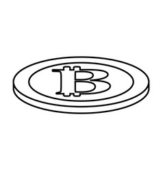 Line digital bitcoin currency and electronic vector