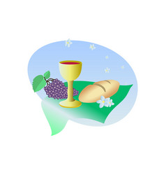 Lords supper communion bread and wine and grape vector