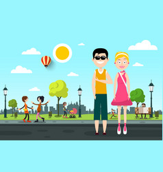 man and woman on street with people in city park vector image