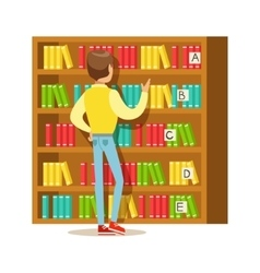 Man Choosing A Book From The Bookshelf Smiling vector