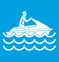 Man on jet ski rides icon white vector