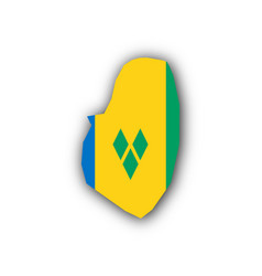 map and flag of saint vincent and the grenadines vector image