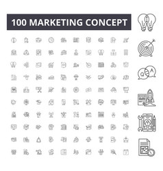 marketing concept line icons signs set vector image