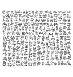 Mega set of 200 black and white hand lettering vector