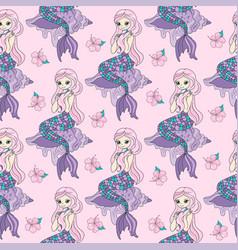 mermaid sea travel seamless pattern color vector image