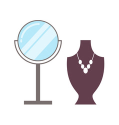 Mirror and necklace set poster vector