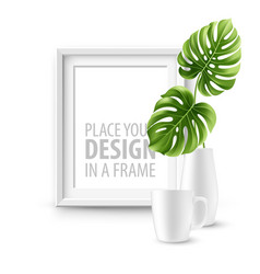 mock up frame wall of the interior background vector image