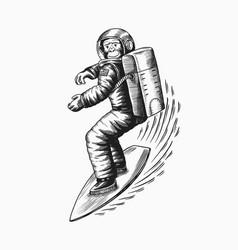Monkey astronaut rides a surf board chimpanzee vector