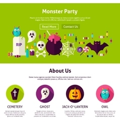 Monster Party Web Design Template vector image