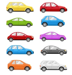 Multicolored Cars Collection Isolated on White vector