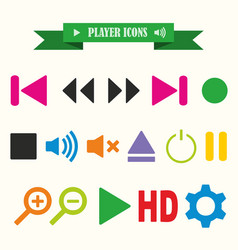 multicolored icons with tape on topic player vector image