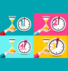 one two three four minutes clock icons time vector image
